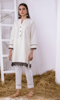 Off-White Khaddar Kurta Full Sleeves  Lace Finishing