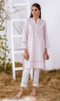 Light Pink Solid Khaddar Kurta Full Sleeves  Lace Finishing