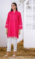 Pink Solid Khaddar Kurta Full Sleeves  Lace Finishing