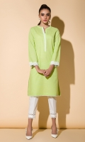 Lime Green Kurta Full Sleeves Lace Finishing