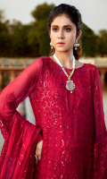 Embroidered chiffon for front: 1 yard  Embroidered chiffon for back: 1 yard  Embroidered organza border for front & back: 2 yards  Embroidered chiffon for sleeves: 0.75 yard  Embroidered chiffon for dupatta: 2.75 yards  Dyed raw silk for trousers: 2.50 yards  Embroidered organza border for trousers: 1 yard