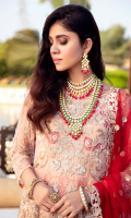 Embroidered chiffon for front & back yoke: 0.75 yard  Embroidered chiffon for front & back panels: 10 pcs  Embroidered organza border for frock: 3.25 yards  Embroidered chiffon for sleeves: 0.75 yard  Embroidered net for dupatta: 2.75 yards  Dyed raw silk for trousers: 2.50 yards