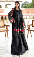 Embroidered chiffon for frock: 2.50 yards  Embroidered organza border for frock: 2.50 yards  Embroidered chiffon for sleeves: 0.75 yard  Embroidered organza border for sleeves: 1.25 yards  Embroidered chiffon for dupatta: 2.75 yards  Dyed raw silk for trousers: 2.50 yards  Embroidered organza border for trousers: 2 yards