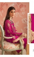 Embroidered chiffon for font: 1 yard  Plain chiffon for back: 1 yard  Embroidered organza motif for back: 1 pc  Embroidered organza border for front & back: 2 yards  Embroidered chiffon for sleeves: 0.75 yard  Embroidered organza border for sleeves: 1 yard  Embroidered chiffon for dupatta: 2.75 yards  Dyed raw silk for trousers: 2.50 yards  Embroidered organza motifs for trousers: 2 pcs