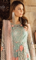 Embroidered net for front & back yoke: 0.75 yard  Embroidered net jaal for front & back: 2.50 yards  Embroidered organza border for front & back: 4.25 yards  Embroidered net for sleeves: 0.75 yard  Embroidered organza border for sleeves & trousers: 2 yards  Embroidered net for dupatta: 2.75 yards  Raw silk for trouser: 2.50 yard
