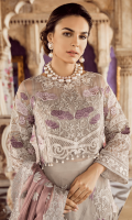 Embroidered chiffon for front & back yoke: 0.75 yard  Embroidered chiffon for front: 1 pcs  Embroidered organza border for front: 1 yard  Plain chiffon for back: 1 yard  Embroidered organza border for back: 1 yard  Embroidered chiffon for sleeves: 0.75 yards  Embroidered organza border for sleeves & trousers: 3.25 yards  Embroidered chiffon for dupatta: 2.75 yards  Raw silk for trousers: 2.50 yards