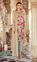 Embroidered chiffon for front: 1 yard  Embroidered chiffon with handmade embellishment for neck patch: 1pcs  Embroidered organza 1inces border for front: 1 yard  Embroidered chiffon for back: 1.25 yards  Embroidered organza border for back: 1.50 yards  Embroidered chiffon for sleeves: 0.75 yard  Embroidered organza border for sleeves: 1 yard  Embroidered chiffon for dupatta: 2.75 yards  Raw silk for trousers: 2.50 yards  Embroidered organza motifs for trousers: 2 p