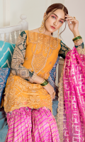 Embroidered chiffon for front:  Embroidered chiffon for back: 1 yard  Embroidered organza border for back: 1 yard  Embroidered chiffon for sleeves: 0.75 yard   Embroidered organza border for sleeves: 1 yard  Lorax jamawar with multi patch embroidered for dupatta:  Dyed jamawar for trousers: 3.25 yards