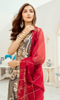 Embroidered chiffon for front: 1 yard  Embroidered organza border for front & sleeves: 2 yards  Embroidered chiffon for back: 1 yard  Embroidered organza border for back: 1 yard  Dyed plain chiffon for sleeves: 0.75 yard  Embroidered khaddi for dupatta:  Dyed raw silk for trousers: 2.50 yards