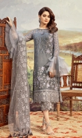 Embroidered chiffon for front: 1 yard  Embroidered chiffon for back: 1 yard  Embroidered organza border for front & back: 2 yards  Embroidered chiffon for sleeves: 0.75 yard  Embroidered Net for dupatta: 2.75 yards  Raw silk trousers: 2.50 yards  Embroidered organza border for trousers: 1.25 yards