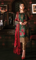 Embroidered chiffon for front: 1 yard  Handmade embellishment for neck patch: 1 pcs  Embroidered chiffon for back: 1 yard  Embroidered organza border for front & back: 2 yards  Embroidered chiffon for sleeves: 0.75 yards  Embroidered organza border for sleeves: 1 yard  Embroidered chiffon for dupatta  Jamawar for trousers: 2.50 yards  Embroidered organza motifs for trousers: 2pcs