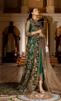 Embroidered net for front & back yoke:  Embroidered net for frock jaal: 3.25 yards  Embroidered organza with stones embellishments border for frock: 9 yards  Embroidered net for sleeves: 0.75 yard  Embroidered organza border for sleeves: 1 yard  Embroidered net for dupatta: 2.75 yards  Dyed raw silk for trousers: 2.50 yards  Embroidered organza border for trousers: 1 yard
