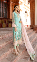 Embroidered net for front: 1 yard  Embroidered organza with handmade embellishment for front neck patch: 1pc  Embroidered organza with handmade embellishment for front border:  Embroidered organza border for front: 1 yard  Embroidered net for back: 1 yard  Embroidered organza border for back: 1 yard  Embroidered net for sleeves: 0.75 yard  Embroidered organza border for sleeves: 1 yard  Embroidered net for dupatta:    Dyed zarri jacquard for trousers: 2.50 yards