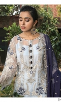 Embroidered chiffon for front: 1 yard  Embroidered organza border for front & trousers: 2 yard  Dyed plain chiffon for back: 1 yard  Embroidered organza motif for back: 1 pc  Embroidered organza border for back: 1 yard  Embroidered chiffon for sleeves: o.75 yard  Embroidered organza border for sleeves: 1 yard  Embroidered chiffon for dupatta:  Dyed raw silk for trousers: 2.50 yards