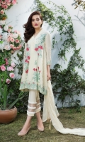 Embroidered swiss lawn for front  Embroidered swiss lawn 1 inch border for neck: 1 yard  Embroidered swiss lawn for back  Embroidered swiss lawn border for front and back: 2 yards  Embroidered swiss lawn for sleeves: 0.75 yard  Embroidered chiffon for dupatta: 2.75 yards  Cotton trousers: 2.5 yards