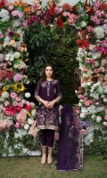 Embroidered swiss lawn for front  Embroidered swiss lawn for back  Embroidered swiss lawn border for front and back: 2 yards  Embroidered swiss lawn for sleeves: 0.75 yard  Embroidered swiss lawn border for sleeves: 1 yard  Embroidered chiffon dupatta: 2.75 yards  Cotton trousers: 2.5 yards