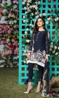Embroidered swiss lawn for front  Embroidered swiss lawn for back  Embroidered swiss lawn border for back: 1 yard  Embroidered swiss lawn for sleeves: 0.75 yard  Embroidered swiss lawn 1 inch border: 1 yard  Printed chiffon dupatta: 2.75yard  Cotton trousers: 2.5 yards