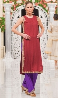 Garnet red jamawar long shirt with grand embellishment on the sides and hem, paired with embellished violet wide pants. Pants sold separately. A look that is sure to turn heads!