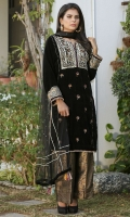 Black velvet kurta with heavily hand-embellished front neckline. Finished with gota and jamawar. The perfect choice for eveningwear.