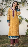 Zesty and vibrant ochre kurta with velvet detailing and elegant embellishments on neckline, sleeves and hemline. Perfect for a Dholki! Straight Jamawar pants included.