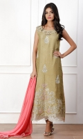 A sensual appliqué kurta, neckline handwork in 3D flowers pearls, sequins and dabka.
