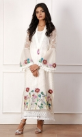 Pure white organza long kurta embellished with hand worked flowers in cut dana resham and stones.  Perfect for, garden tea party , lunches or dinner party, evening tea, or elegant lunches.