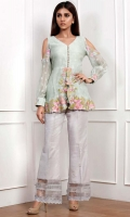 A peplum minty green top with intricate floral embroidery on the daman sleeves and cuff. Includes camisole