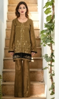 Mehndi green jacket with grand baroque style embroidery and velvet detailing. Pants included.