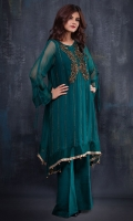 Pure chiffon top with copper work. Raw silk trouser and dupatta included.