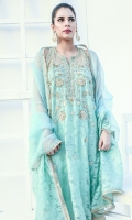 Organza long kurta with heavy embellishments of pearls, sequins and beads. Dupatta and trouser included.