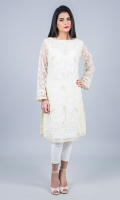 Floating petals ivory net appliquéd shirt with zari and dull gold sequinned flowers all over the front.