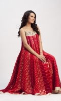 Deep red flair shirt in pure jamawar chiffon in heavily worked bodice, with spaghetti strap  Pants and dupatta included
