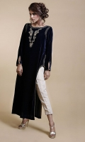 Blue velvet shirt with asymmetrical sides with intricate hand embellishments.Dull gold cotton silk pants complementary.