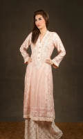 Peach embroidered cotton-net with paisley embroidery at front and detailing with peach lace. Net trousers.