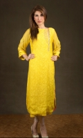 Yellow canary cotton-net with applique/handwork embroidery. Yellow trousers.  Yellow stole.