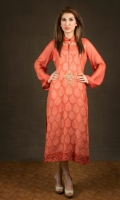 Orange cotton-net with tangerine fantasy with intricate dull gold embellishments. Orange trousers.  Orange stole.