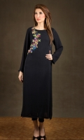 Black chiffon with birds of paradise embroidery at front. Black trousers