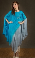 Blue/grey chiffon poncho with sequin embroidery at side.