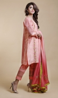 Cotton net and Chikan panels with insertion lace and intricate embroidered details on front and sleeves