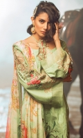 Linen dyed composed embroidered front,dyed composed embroidered sleeves,paste printed back and coupled with dyed trouser. Digital printed bamber chiffon dupatta. Accessories. Embroidered patches.