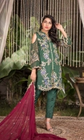 Embroidered Chiffon Front : Embroidered Chiffon Back  : Embroidered Chiffon Sleeve: Embroidered Chiffon Dupatta Pk Raw Silk Dyed Trouser: