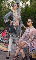 EMB PRINTED LAWN SHIRT : 3 MTR DYED TROUSER : 2.5 MTR  PRINTED LAWN DUPATTA : 2.5 MTR ACCESSORIES TROUSER PATCH : 2 PC