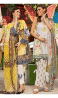 PRINTED EMB LAWN FRONT : 1.25 MTR PRINTED LAWN BACK & SLEEVES : 1.9 MTR PRINTED CAMBRIC TROUSER : 2.5 MTR PRINTED CHIFFON DUPATTA : 2.5 MTR ACCESSORIES LACE : 1 PC