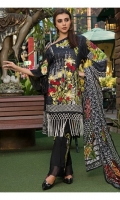 PRINTED EMB LAWN FRONT : 1.25 MTR PRINTED LAWN BACK & SLEEVES : 1.9 MTR CAMBRIC TROUSER : 2.5 MTR PRINTED BROSHA DUPATTA : 2.5 MTR ACCESSORIES NECK MOTIF : 1 PC MOTIF : 2 PCS