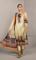 DIGITAL PRINTED LAWN SHIRT : 3 MTR DYED TROUSER : 2.5 MTR DIGITAL PRINTED CHIFFON DUPATTA : 2.5 MTR