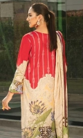 LAWN PRINTED SHIRT : 3 MTR DYED LAWN TROUSER : 2.5 MTR LAWN PRINTED DUPATTA : 2.5 MTR ACCESSORIES DAMAN EMB PATCH