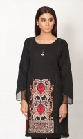 PRINTED COTTON SHIRT WITH EMB SLEEVES