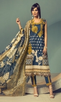 PRINTED EMB LAWN FRONT : 1.25 MTR PRINTED BACK & SLEEVES : 1.9 MTR PRINTED SILK DUPATTA : 2.5 MTR CAMBRIC TROUSER : 2.5 MTR ACCESSORIES SLEEVE MOTIF : 2 PCS TROUSER MOTIF : 2 PCS LACE : 1 PC
