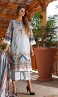 Printed Lawn Shirt : 2.5 Meters Printed Lawn Dupatta : 2.5 Meters Dyed Lawn Trouser : 2.5 Meters