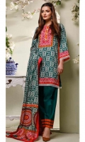 Printed Lawn Shirt : 3 Meters Dyed Lawn Trouser : 2.5 Meters Printed Lawn Dupatta : 2.5 Meters